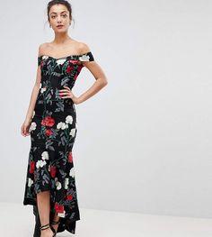 7b53a4c47d5362 Chi Chi London Tall Bardot Midi Dress With Fishtail Hem. Jenn · wishlist · Glamorous  Tall sleeveless midi dress with flutter sleeves in smudge ...