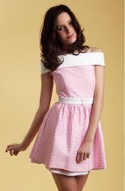 HOLLY PREPPY. Vestido combinado, rosa claro.