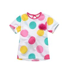 Jumping beans cotton kids baby infants girl short sleeve t-shirt color dotted circle tee