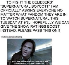 No matter what fandom you're in, please watch Supernatural this Tuesday!