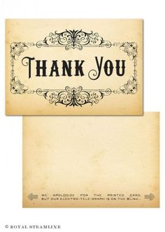 Gorgeous Thank You cards! Make sure to check out the fantastic fine print.