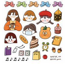 Printable Scrapbook Paper, Printable Stickers, Cute Stickers, Journal Stickers, Planner Stickers, Korean Stickers, Kawaii Doodles, Cute Cartoon Wallpapers, Aesthetic Stickers