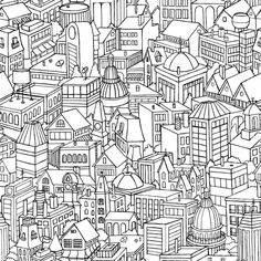 citypatternblog by KenzieKate.  Perfectly repeating pattern...awesome  #Illustration #Pattern #Drawing