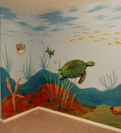 Wall Mural Inspiration & Ideas for Little Boys' Rooms A child's room can be transformed into the 'fantasy world' of a forest or racing track, encouraging imaginative play and an awareness of art. Sea Murals, Ocean Mural, Beach Wall Murals, Kids Wall Murals, Murals For Kids, Ocean Bedroom, Sea Nursery, Master Bedroom, Mural Painting