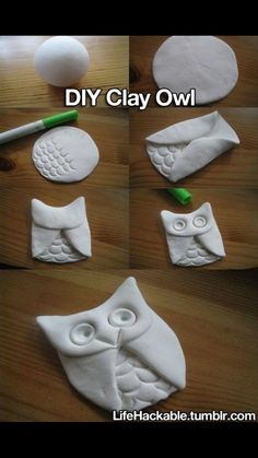 Makes me think of my sisiter :) DIY: Clay Owl. Will use air dry clay or salt dough. Owl Crafts, Cute Crafts, Crafts Cheap, Butterfly Crafts, Animal Crafts, Creative Crafts, Easy Crafts, Owl Ornament, Christmas Owls