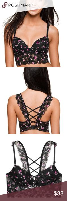 PINK Victoria's Secret Lace Strappy Push-Up M PINK Victoria's Secret Lace Strappy Push-Up M Color: Ditsy Floral Size: M Pretty perfection! This lacy longline bralette features the perfect amount of push and a cute strappy back!  Push-up Back closure with adjustable straps Longline style Strappy back Imported nylon/spandex/polyester PINK Victoria's Secret Intimates & Sleepwear Bras