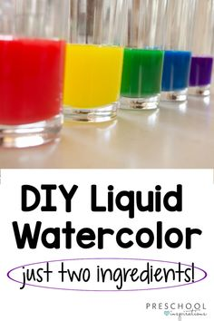This is a game changer if you love liquid watercolor! Make your own easy and affordable DIY liquid watercolor. I love this recipe for process art activities or if I need watercolor right away! It is the perfect substitute for food coloring and dyes. Plus, liquid watercolor is washable! Kids Watercolor, Liquid Watercolor, Watercolor Projects, Watercolor Techniques, Craft Projects For Kids, Crafts For Kids To Make, Arts And Crafts Projects, Kids Crafts, Kids Art Space