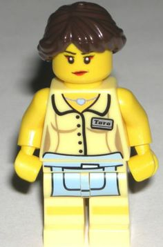 LEGO Diner Waitress Custom Minifigure with Braided Hair Dual Angry Face
