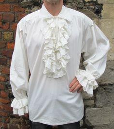 Mens White Ruffle Frill Lace Pirate Vampire Dress Dinner Shirt New Gothic King | eBay
