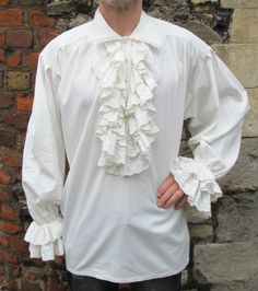 Mens White Ruffle Frill Lace Pirate Vampire Dress Dinner Shirt New Gothic King | eBay