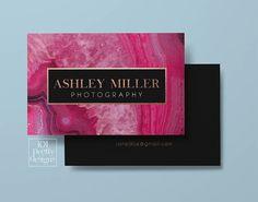 Gemstone business card design pink blue agate business card