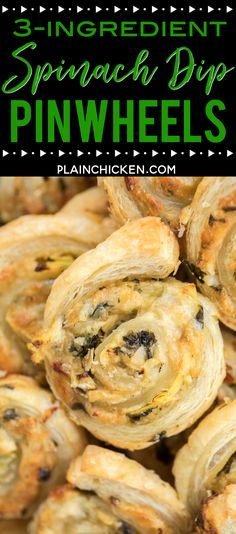 Spinach Dip Pinwheels - ready to eat in under 20 minutes! Spinach and artichoke dip, parmesan cheese and puff pastry. Can make ahead of time and refrigerate or freezer for later. Great for parties and tailgating! There are never any leftove Puff Pastry Pinwheels, Puff Pastry Appetizers, Pinwheel Appetizers, Make Ahead Appetizers, Vegetarian Appetizers, Puff Pastry Recipes, Appetizers For Party, Appetizer Recipes, Puff Pastries