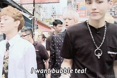 Like a nagging child telling his papa he wants some bobble tea!... Kris' son Oh Sehun everybody