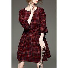 Stylish Jewel Neck 3/4 Sleeve Gingham Bowknot Embellished Women's Dress