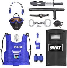 Police Costume For Kids, Swat Costume Kids, Kids Police, Kids Army, Police Accessories, Costume Accessories, Role Play, Pretend Play, Coral Curtains