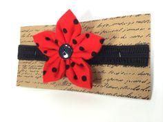 Flower Headband  Red & Black Polka Dot Flower on by TinyLittleDots, $8.00