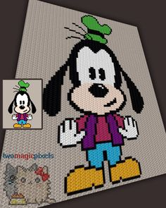 Baby Goofy inspired c2c graph crochet pattern; instant PDF download; baby blanket, corner to corner, afghan, graphghan by TwoMagicPixels on Etsy https://www.etsy.com/listing/292604109/baby-goofy-inspired-c2c-graph-crochet