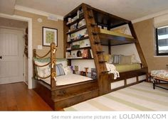 Awesome bunk bed design. I need this for my grandkids!