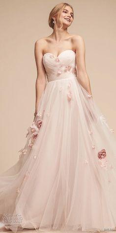 bhldn spring 2018 bridal strapless sweetheart neckine wrap over ruched bodice light embellishment romantic pink a line wedding dress (20) mv -- BHLDN Spring 2018 Wedding Dresses