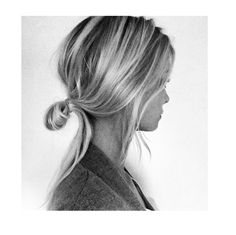 Long, fine, blond hair pulled into a ponytail of sorts. At one point, hair is not pulled all the way through the elastic. Thus, a looped ponytail is formed. Cute and casual style that works especially well on fine, thin, locks.