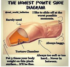 "Funny. ""The Honest Pointe Shoe Diagram"" #dancelife. True."