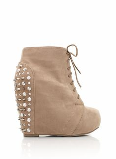 spiky suede wedges these come in brown blue and black