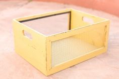 Mustard Yellow Wood and Mesh Crate – Large