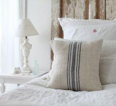 Dreamy Whites grain sack pillows