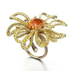 """Sea of Oz"" ring set in 18k yellow gold with mandarine garnet, yellow diamonds, chocolate diamonds / by Suzanne Syz"