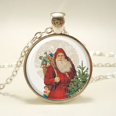 Items similar to Santa Claus Christmas Necklace, Xmas Gift, Festive Holiday Jewelry on Etsy Christmas Necklace, Santa Claus Is Coming To Town, Holiday Jewelry, Holiday Festival, Selling Jewelry, Xmas Gifts, Pocket Watch, Art Prints, Pendant