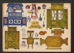 MISSION STYLE Kitchen Doll House Paper Doll Toy 1920's (07/06/2011)