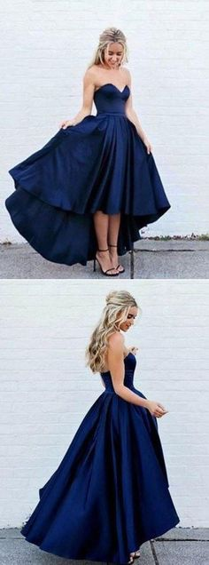 Sweetheart Navy Blue Front Short Long Back Satin Prom Dresses formal Gown party Dress from Prettyqueenprom Unique dress - Fashion Dress 2020 - Casual Dress Dark Blue Prom Dresses, High Low Prom Dresses, Elegant Prom Dresses, Prom Dresses 2018, Trendy Dresses, Short Dresses, Dress Formal, 8th Grade Prom Dresses, Navy Blue Formal Dress