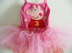 PEPPA PIG Leotard TUTU - Pig Tutu - Personalized w/ name and Birthday number - 18/24 months, 2/4 years, 4/6 years, 6/8 years and up on Etsy, $48.00