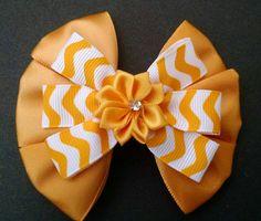 Yellow Hairbow Chevron Hairbow Flower by GloriaMillerCreation