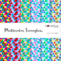 """Multicolor triangles  digital papers. Wallpapers. Backgrounds. JPEG, high resolution (300 dpi) 12""""x12"""". Instant download. This digital paper collection can be used for cards, teaching material, product presentation or any creative project. You will receive:1 ZIP file with 12 JPEG files."""