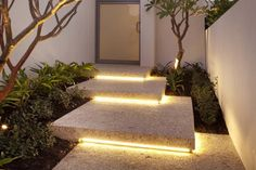 "I call this ""negative lighting"", i.e. framing the outside of a step with LED strips - original and spectacular"