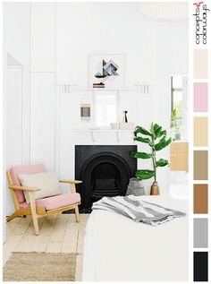 white bedroom with blush pink chair and light wood, color palettes, color combinations, color schemes, color ideas, color inspiration, color for interiors, pantone ballet slipper, sherwin williams tres naturale, pantone neutral gray, black, gray, copper brown, golden brown, beige, blush pink, millenial pink, dusty rose, dusty pink, white, ivory