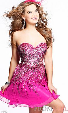 Short Fuchsia Sherri Hill Dress at PromGirl.com