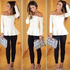 White Off-Shoulder Long White Top - Black Tights - Classy Winter Fashion - Parisian