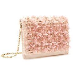 Oscar de la Renta Soft Pink Embroidered Satin Dede Bag