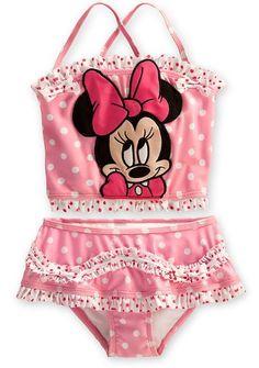 72cda2ef19 Disney Store Minnie Mouse Swimsuit: Pink 2-Piece Tankini Swimwear for Girls  (Size