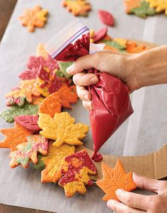 Edible Art Project:  Fall Leaves Cookie Wreath