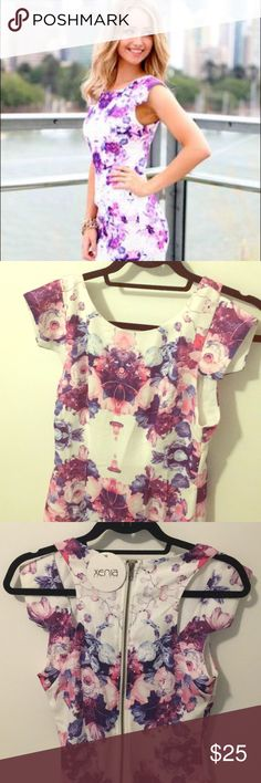Xenia Bodycon Dress Never worn! Pink, purple and blue floral pattern. Sizing runs small Xenia Boutique Dresses Mini