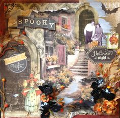 Spooky ~ What an amazing idea...a heritage Halloween page that gives the feeling of being in a haunted, vintage town. The fussy cut photo fits perfectly into the scene.