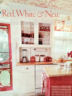 This Is A Fun Country Kitchen Love The Screen Door And Wallpaper