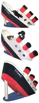 $900 Cat furniture shaped like the Titanic. I'd be really mad if my cats preferred playing in the box it came in!