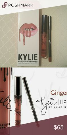 GINGER Lip Kit Kylie Cosmetics 100% Authentic New in box, never used. Ginger Lip Kit by Kylie Cosmetics. Kit includes 1 matte liquid lipstick and 1 pencil lip liner. Sold out online Kylie Cosmetics Makeup Lipstick