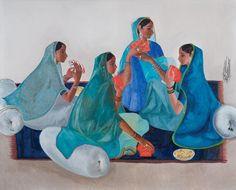 """"""" Women in blue saris playing cards"""",  B Prabha"""