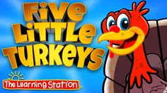"View for FREE: Thanksgiving song for children animated music video ""Five Little Turkeys"". Your children will love this popular Thanksgiving song that teaches early math. This song is great for preschool, kindergarten and lower elementary age children. It's also a hit performed at school assemblies or family nights."