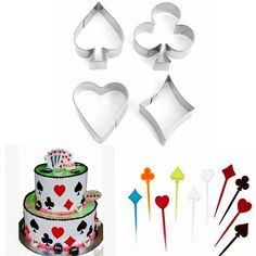 4 Pcs Poker Stainless Steel Cake Biscuit Pastry Baking Cookies Cutter Mould